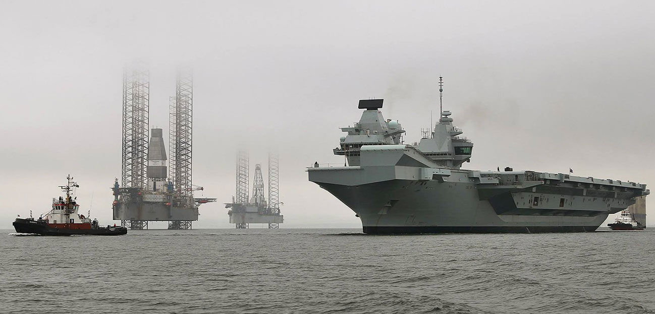 HMS Queen Elizabeth sails from Invergordon, an echo of the Royal Navy's illustrious past