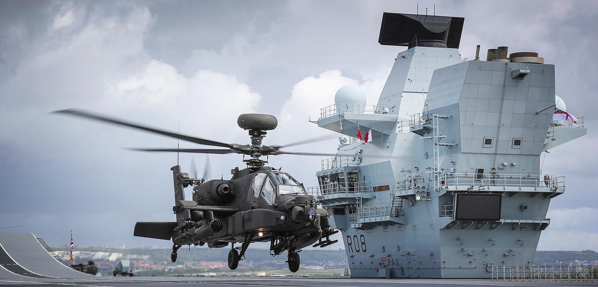Apache helicopter begins trials onboard HMS Queen Elizabeth