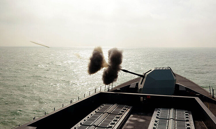 4.5 inch gun fired by Type 45 destroyer