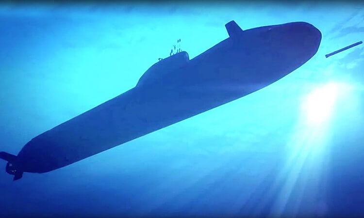 Astute class submarine fires Spearfish torpedo
