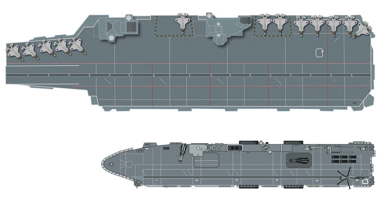 Deck comparison. Apart from QE's obviously more spacious deck, the deck-edge lifts can cope with larger aircraft including the Chinook and V-22 Osprey.