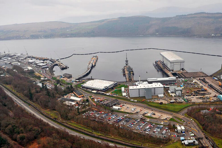 Shiplift building and finger jetty at Faslane
