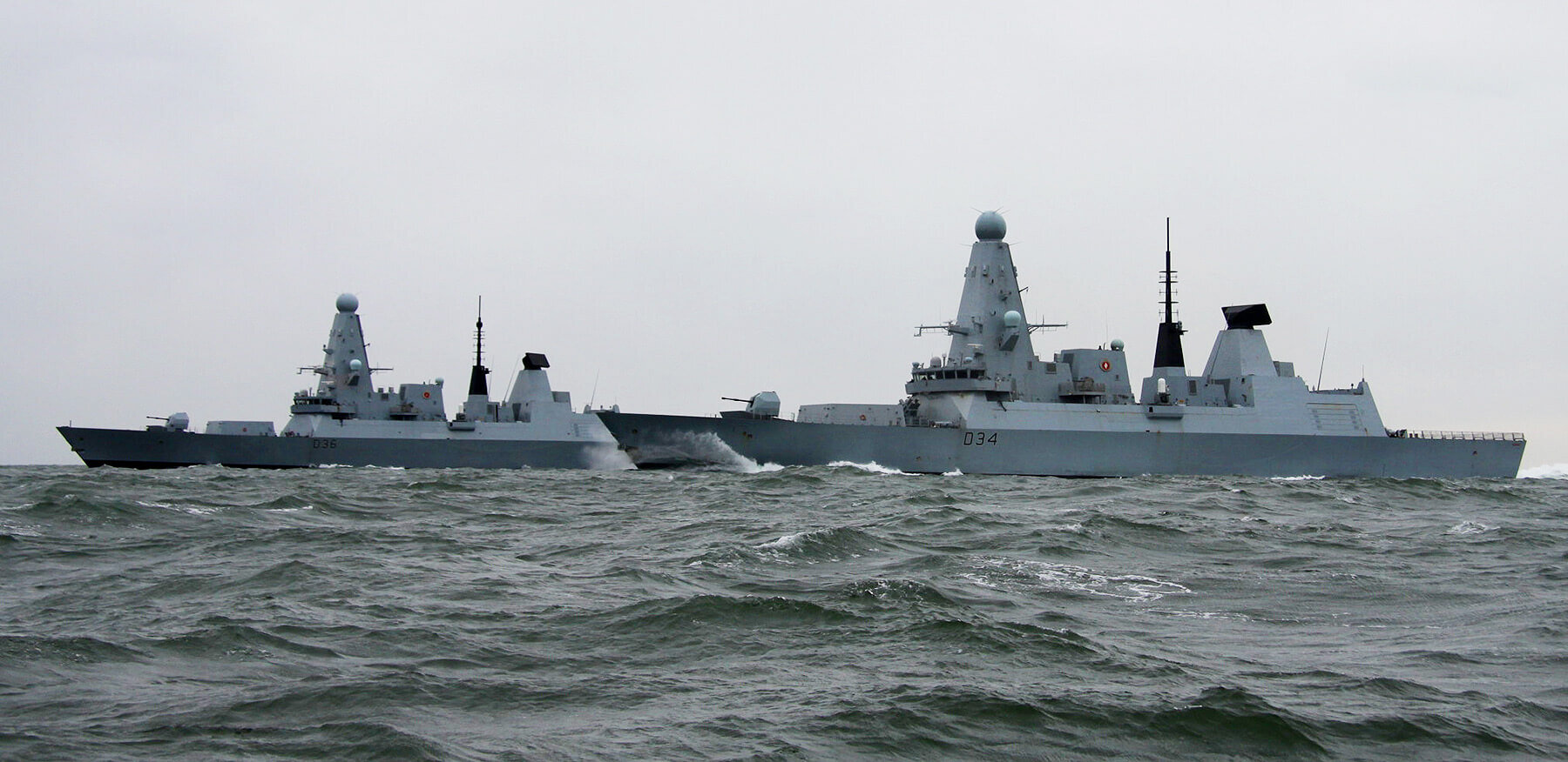 Meeting up with sister ship HMS Diamond during initial sea trails, April 2018