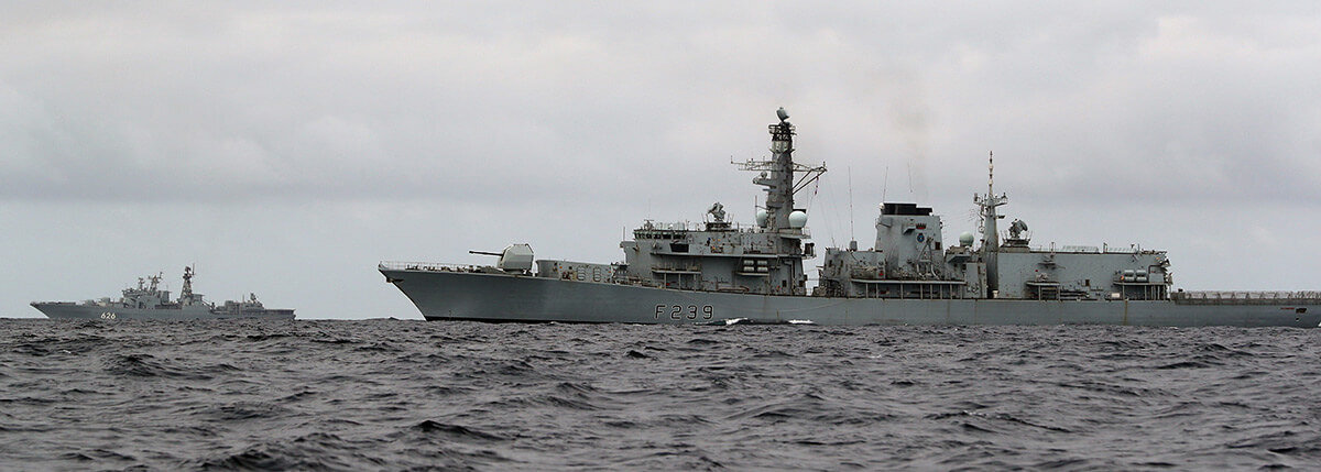 HMS Richmond and Russian Udaloy class anti-submarine destroyer Vice-Admiral Kulakov