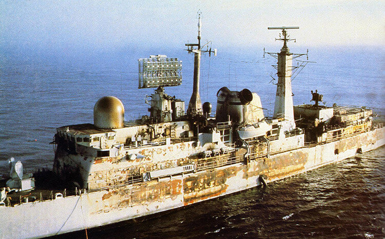 HMS Sheffield hit by Exocet missile Falklands
