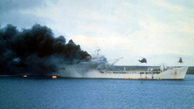 RFA Sir Galahad, Bluff Cove, Falklands War 1982