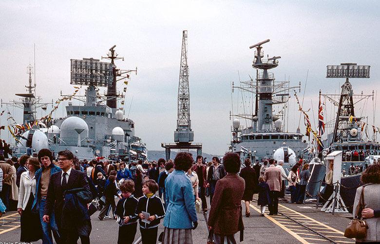 Rosyth Dockyard 1979. HMS Hermione, Bristol, Amazon (F169), and HMS Nubian.
