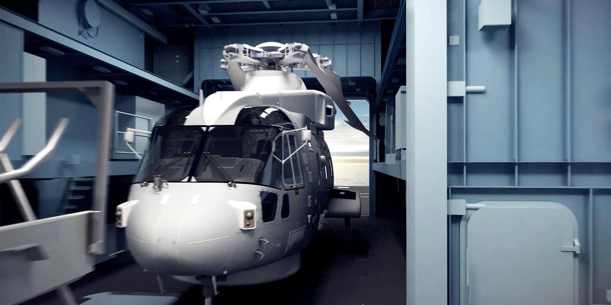 Type 26 frigate hangar Merlin helicopter