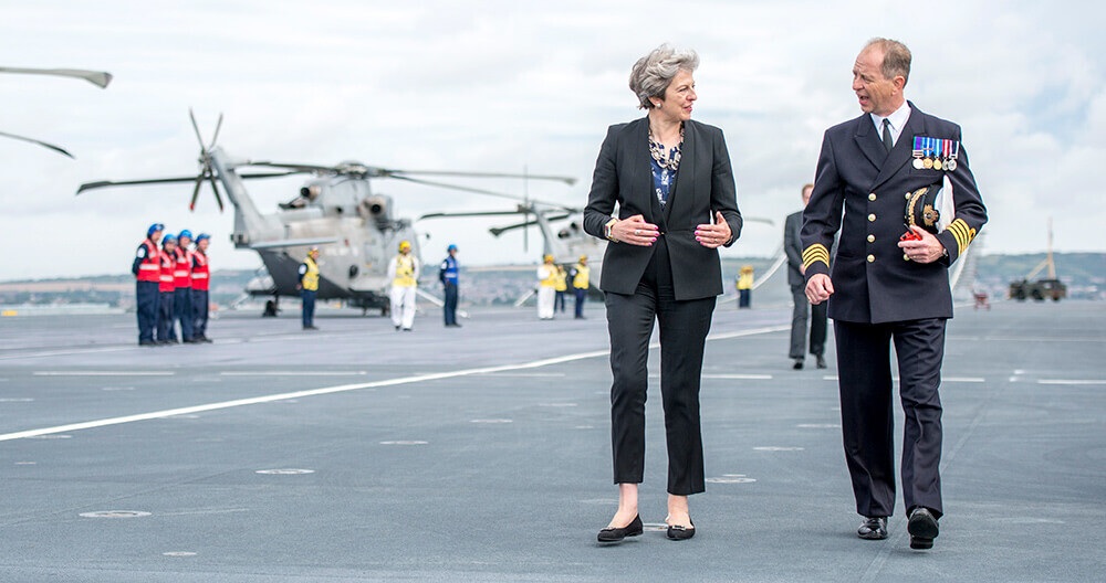 Theresa May on HMS Queen Elizabeth