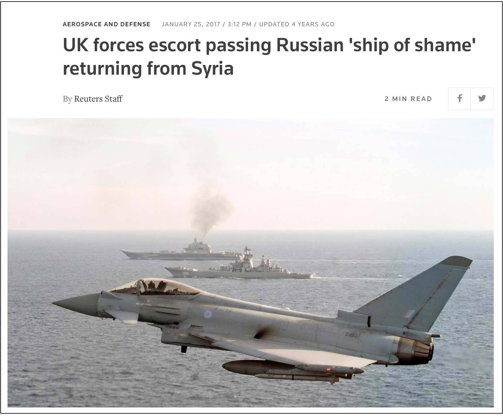 Escorting Admiral Kuznetsov near uk waters