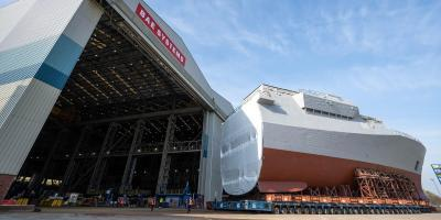 Taking shape – forward section of first Type 26 frigate HMS Glasgow rolled out of build hall