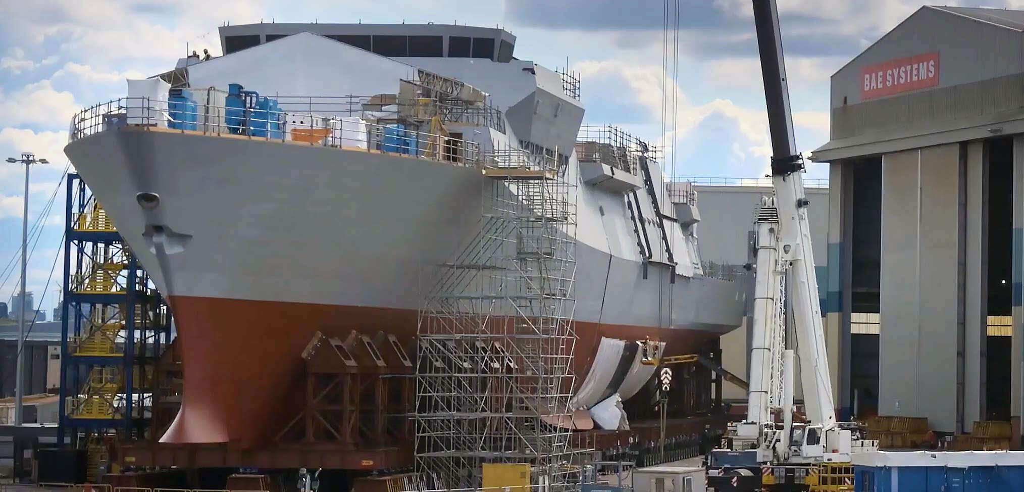 The first Type 26 frigate hull – HMS Glasgow coming together