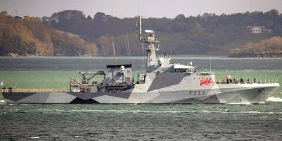 HMS Tamar puts to sea with with new dazzle paint scheme