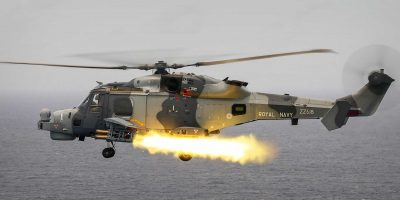 Royal Navy Wildcat fires the first operational Martlet missile